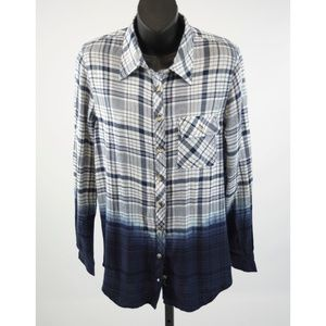 Tolani Emma Plaid Blue Dip Dye Button Down Sm